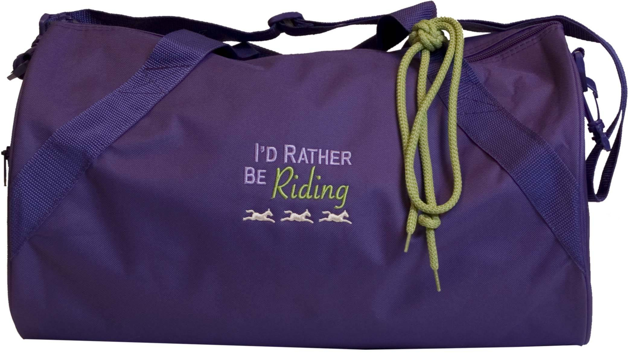 Stirrups Id Rather Be Riding Embroidered Duffle Bag