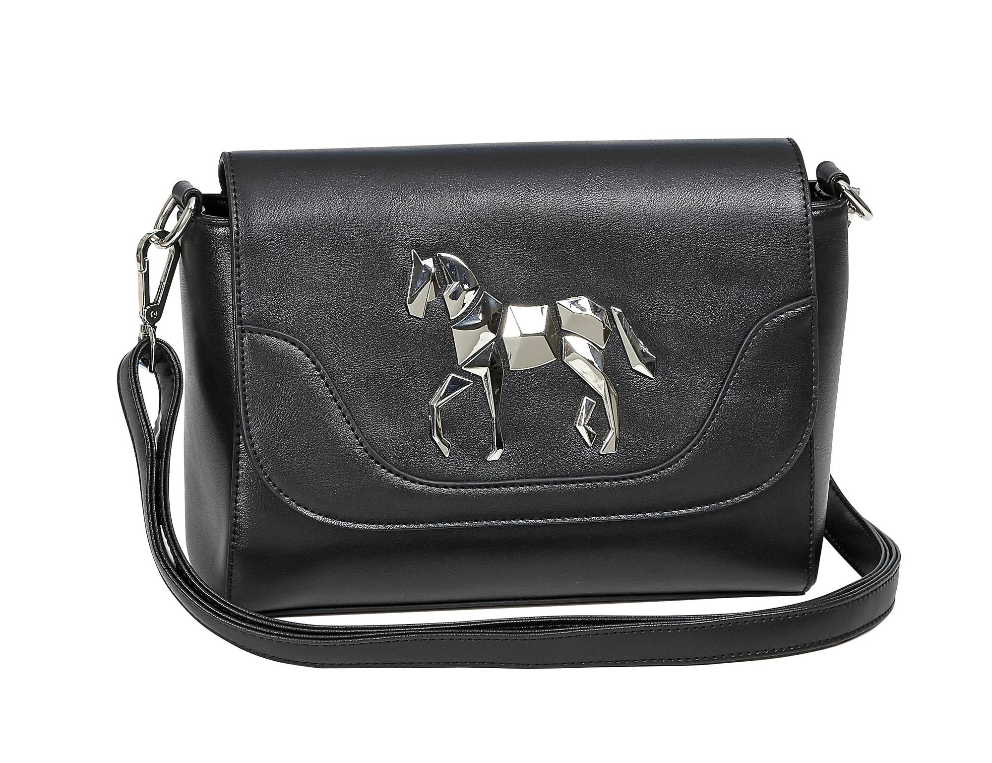 Ladies Fold Over Metallic Horse Purse