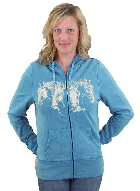 Outback Trading Hungry Horses Hoodie- Ladies