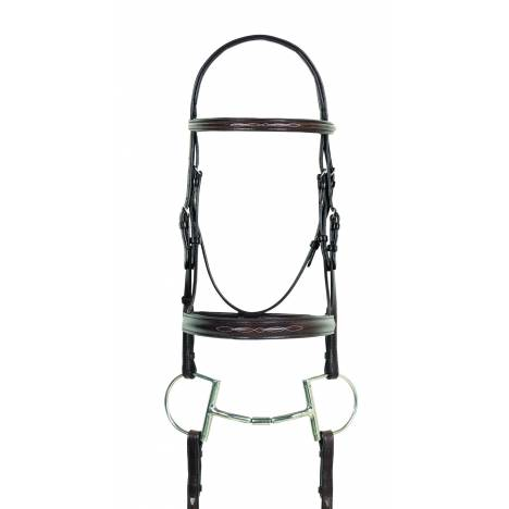 Camelot Fancy Stitched Round Wide Padded Monocrown Bridle with Reins