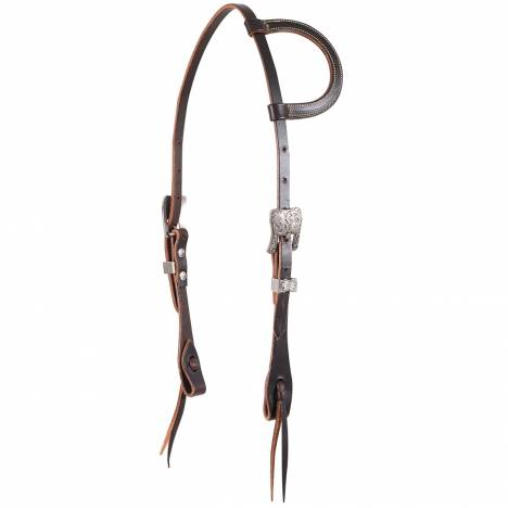 Martin Slip Ear Antique Silver Buckle Headstall- Chocolate