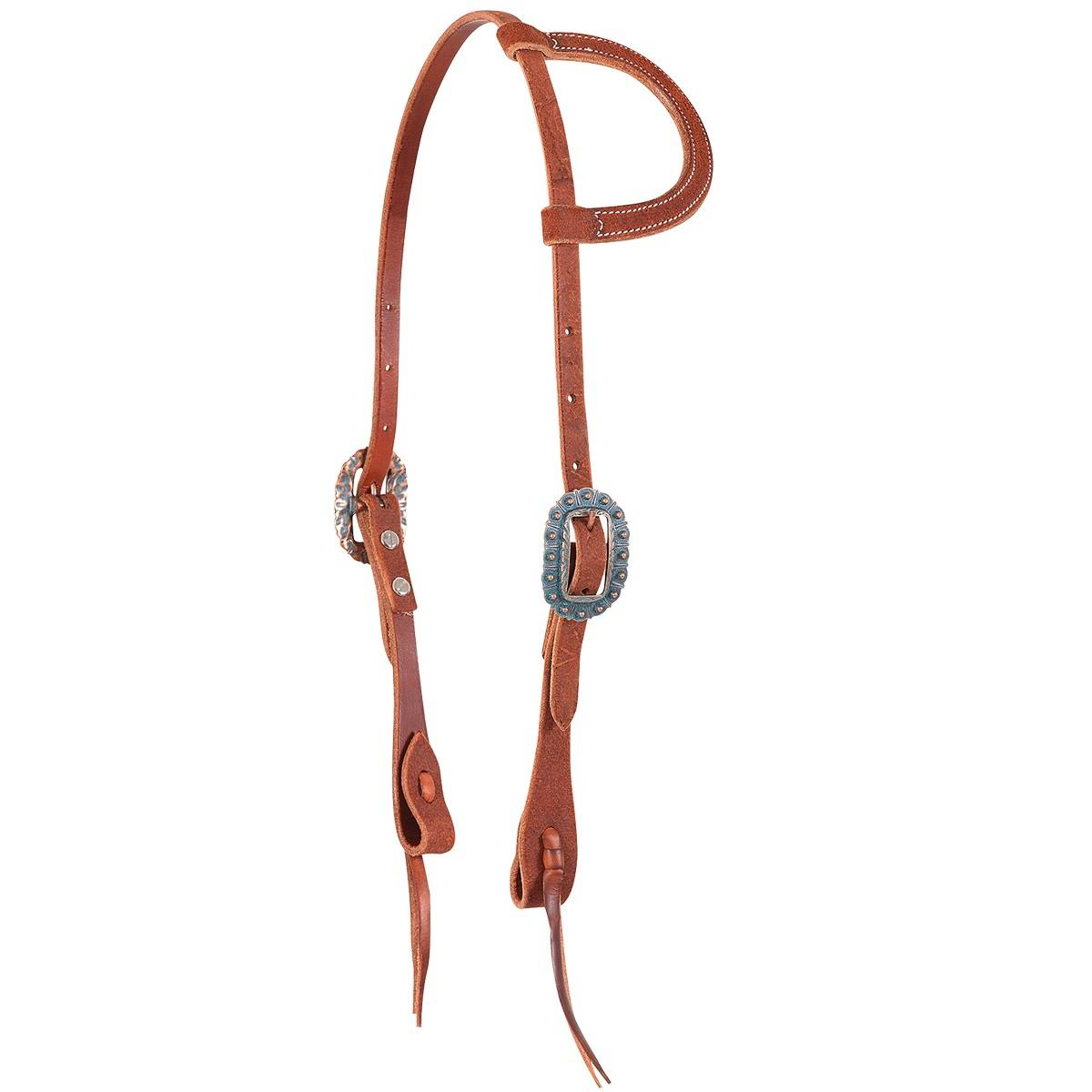 Martin Slip Ear Copper Patina Roughout Headstall- Chestnut