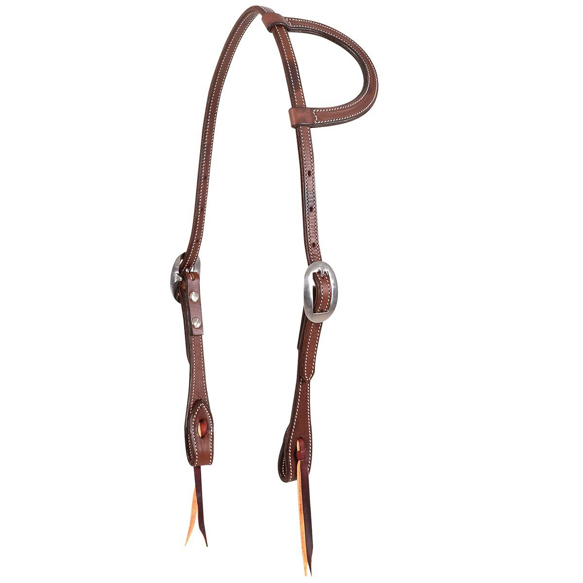 Martin Slip Ear Skirting Leather Headstall- Chocolate