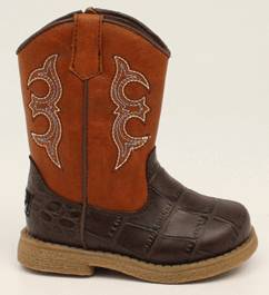DBL Barrel Lil Bronc Western Boot - Toddler Boys, Rust/Brown