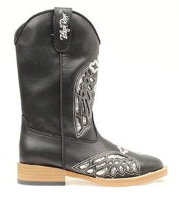 Blazin Roxx Gracie Wing & Cross Western Boot - Youth Girls, Silver/Black