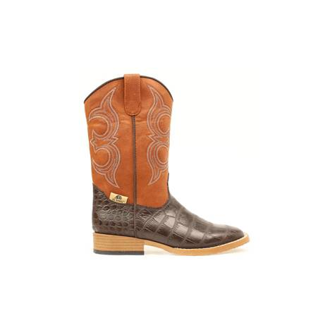 DBL Barrel Bronc Gator Western Boot - Youth Boys, Rust/Brown