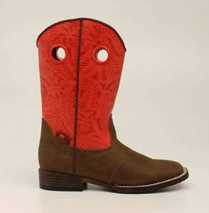 DBL Barrel Sam Western Boot - Boys, Red/Brown