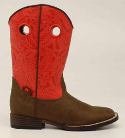 DBL Barrel Sam Western Boot - Youth Boys, Red/Brown