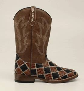 DBL Barrel Andy Patchwork Western Boot - Boys, Brown/Black