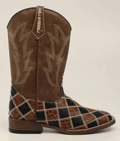 DBL Barrel Andy Patchwork Western Boot - Youth Boys, Brown/Black