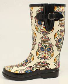 Blazin Roxx Rocki Sugar Skull Round Toe Rain Boot - Ladies, White/Multi