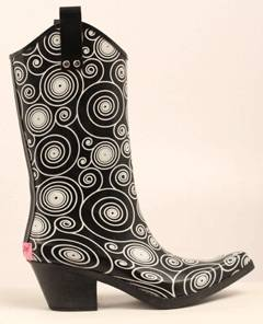 Blazin Roxx Layla Spiral Snip Toe Rain Boot - Ladies, Black/White