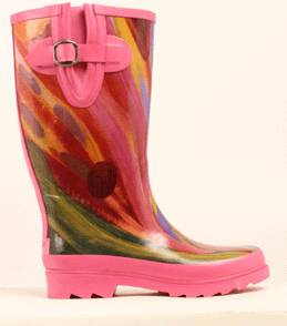 Blazin Roxx Rose Watercolor Round Toe Rain Boot - Ladies, Pink/Multi