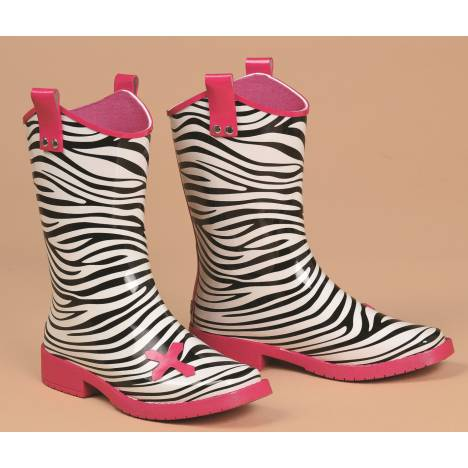 Blazin Roxx Jane Zebra Square Toe Rain Boot - Girls, Black/Pink