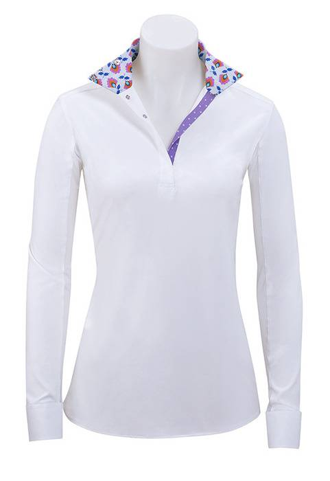 RJ Classics Prestige Paige Show Shirt - Ladies - Purple Floral Trim