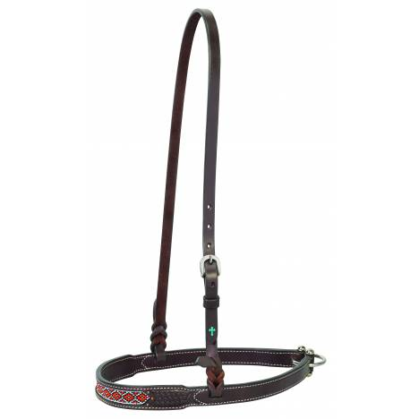 Weaver Turquoise Cross Beaded Basketweave Noseband