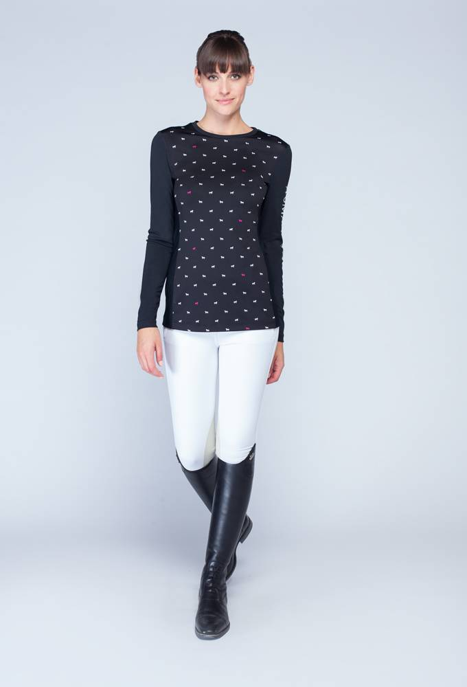 Asmar Polka Dot Pony Long Sleeve Sun Shirt - Ladies - Black