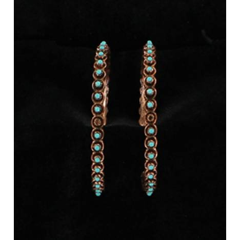 Blazin Roxx Beaded Copper Hoop Earrings