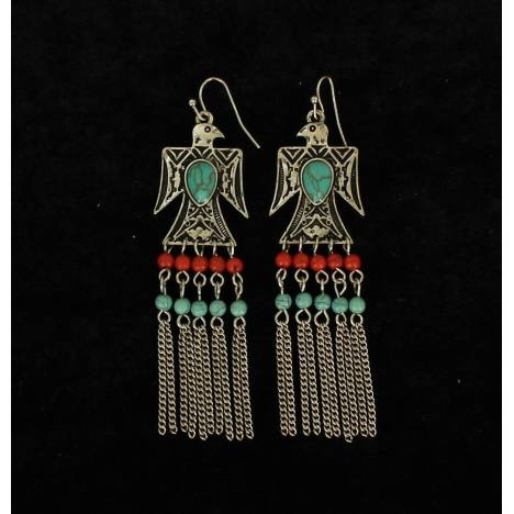 Blazin Roxx Beaded Eagle Fringe Earrings