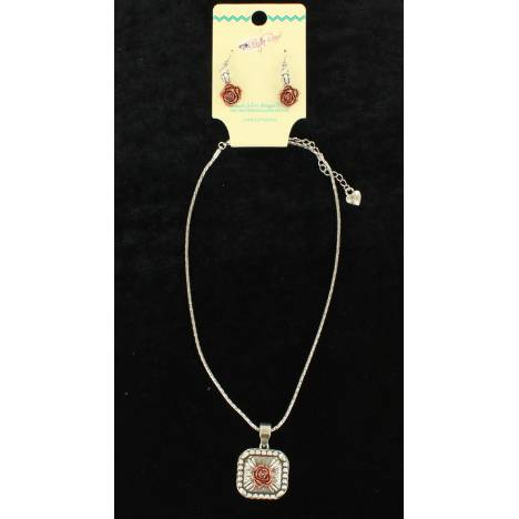 Blazin Roxx Chain Rose Pendant Jewelry Set
