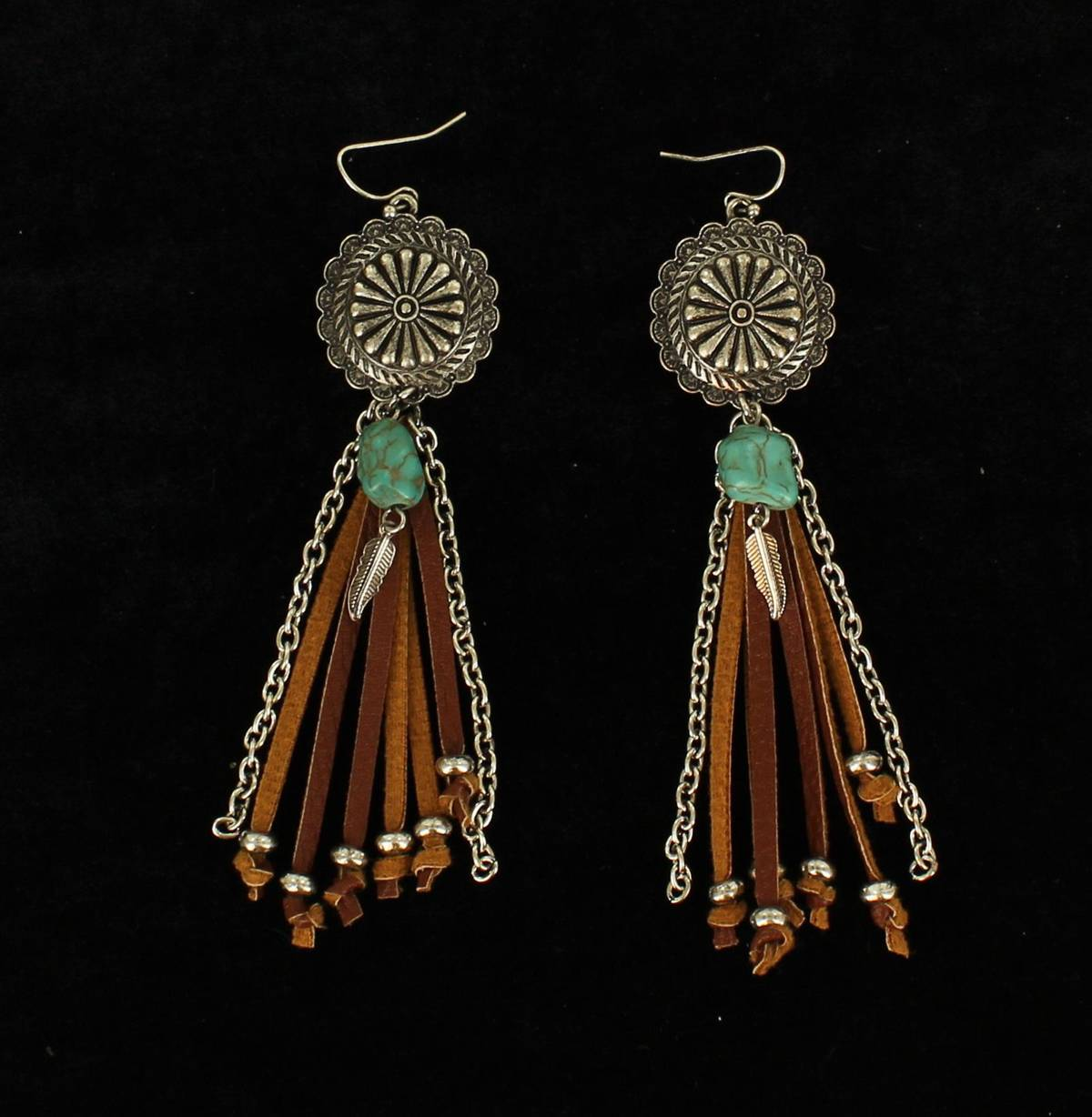 Blazin Roxx Floral Disc Beaded Arrow Fringe Earrings
