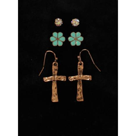 Blazin Roxx Rhinestone Stud Floral Cross Earrings