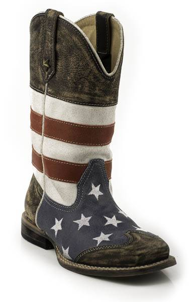 Roper American Flag Square Toe Western Boot- Kid's