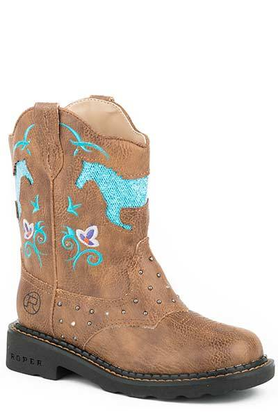 Roper Horse Flowers Light Up Western Boot- Girl's