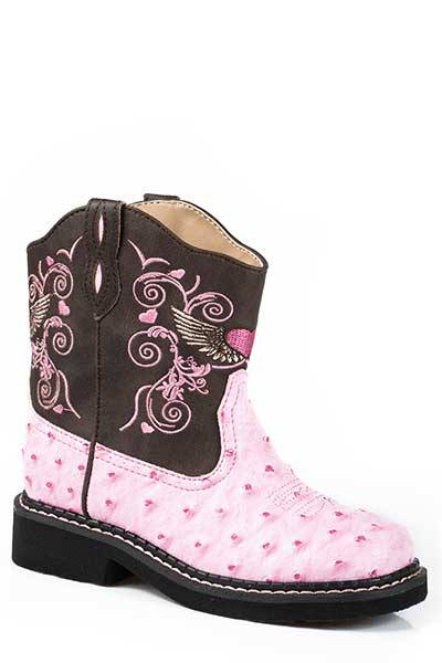 Roper Flying Heart Chunks Riderlite 2 Western Boot-Girl's