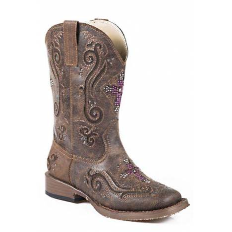 Roper Faith Square Toe Western Boot- Girl's