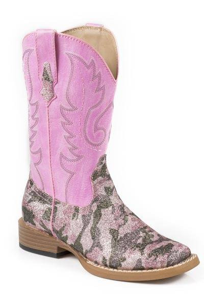 Roper Pretty Camo Square Toe Western Boot- Girl's