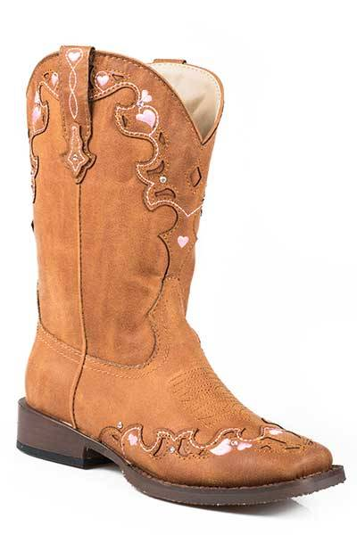 Roper Hearts Square Toe Western Boot- Girl's