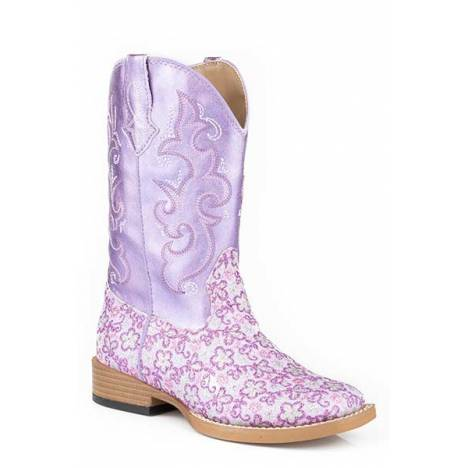 Roper Lavender Wide Square Toe Western Boot- Girl's
