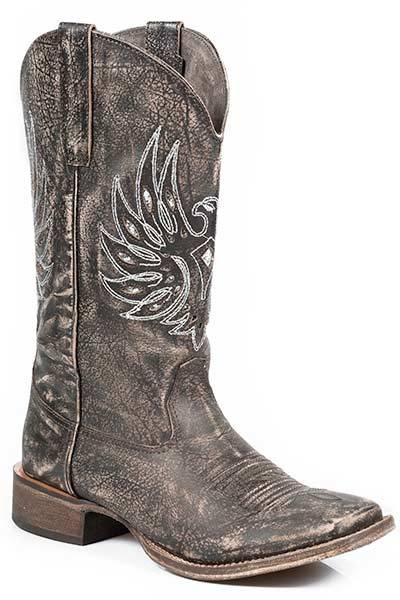 Roper Metallic Eagle Wings Wide Square Toe Western Boot- Ladies