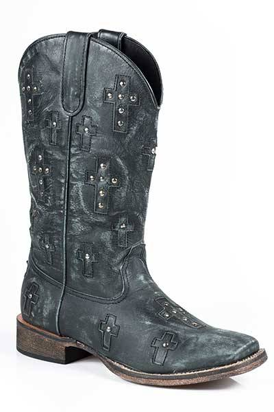 Roper Bling Cross Wide Square Toe Western Boot- Ladies