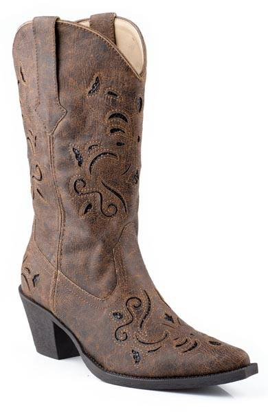 Roper Chloe Snip Toe Glitter Fashion Western Boot- Ladies