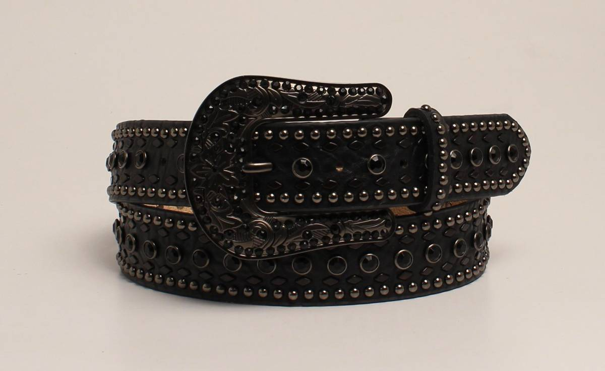 Nocona Rhinestone And Nailhead Belt And Buckle Set- Ladies