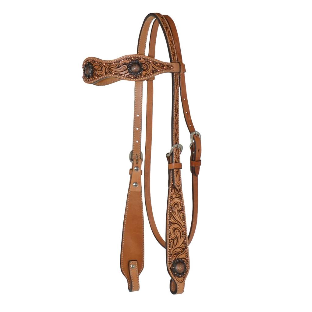 Circle Y Floral Berry Edge Concho Browband Headstall