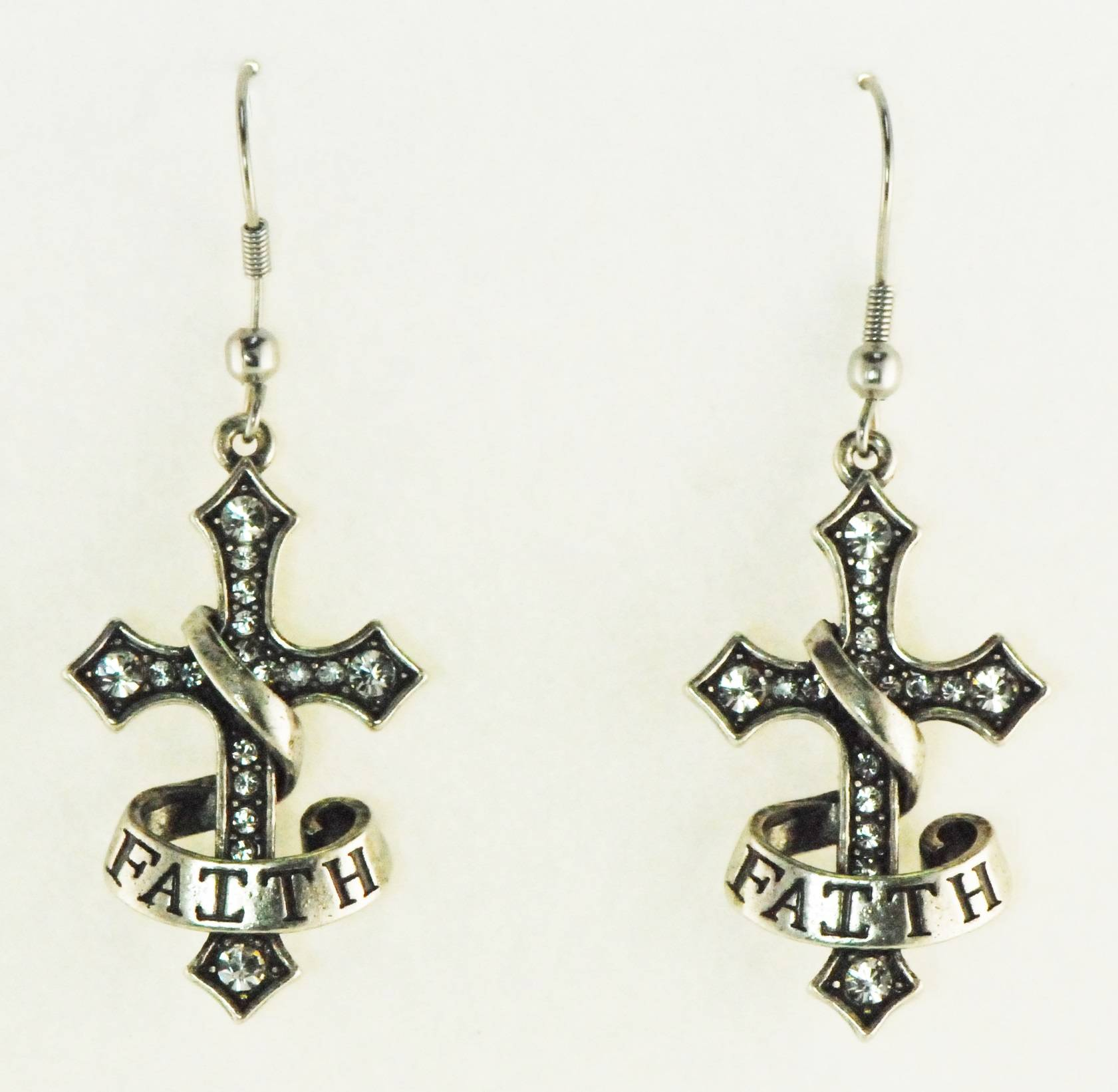 Western Edge Cross Faith Dangle Earrings With Imitation Rhodium/Clear Finish Crystals