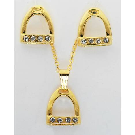 Western Edge Crystal Accent Stirrup Gold Plated Earrings And Necklace Set