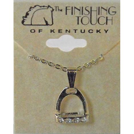 Western Edge Crystal Accent Stirrup Gold Plated Necklace