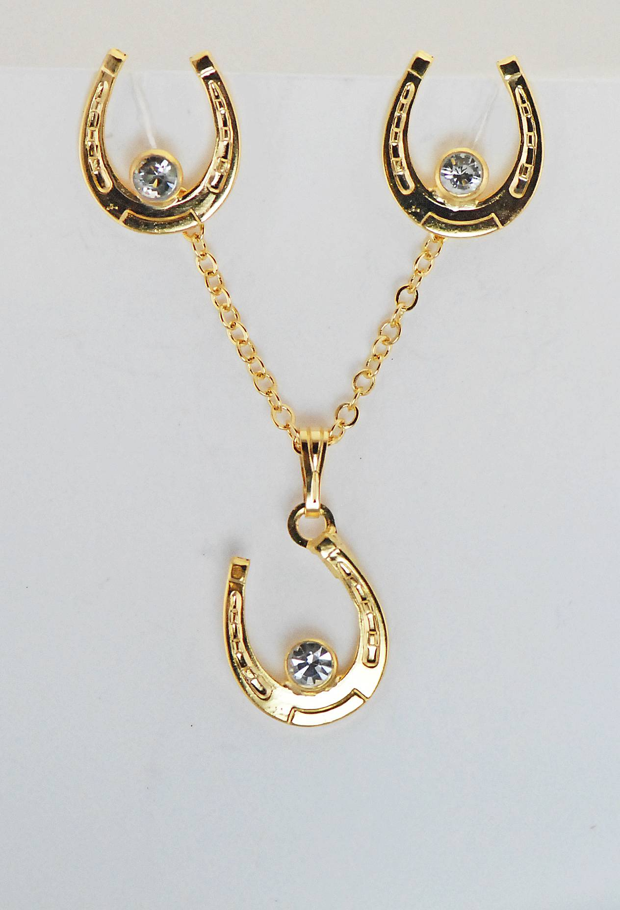 Western Edge Crystal Stone Horseshoe Earrings and Necklace Set