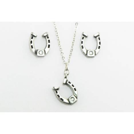 Western Edge Crystal Stone Retro Horseshoe Earrings And Necklace Set
