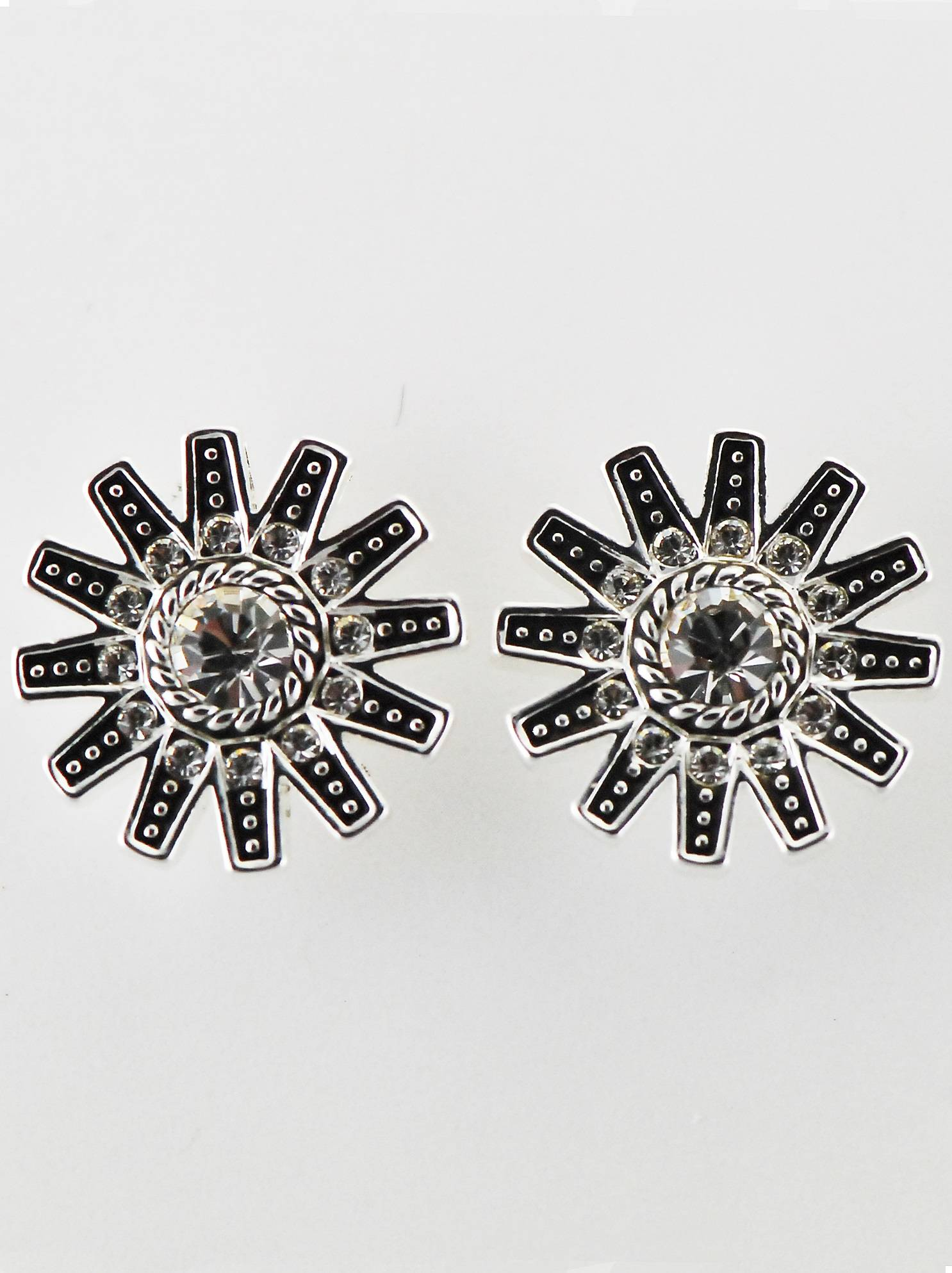 Western Edge Crystal Stones Spur Rowel Earrings