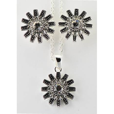 Western Edge Crystal Stones Spur Rowel Earrings and Necklace Set