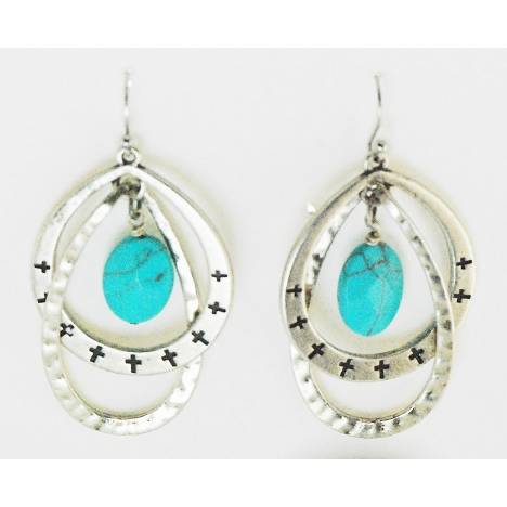 Western Edge Double Hoop And Bead Earrings
