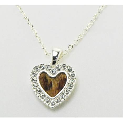 Western Edge Hair On Crystal Heart Necklace