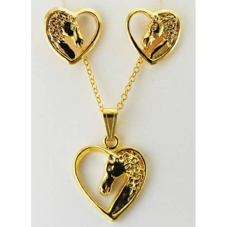 Western Edge Horsehead In Heart Earrings And Necklace Set