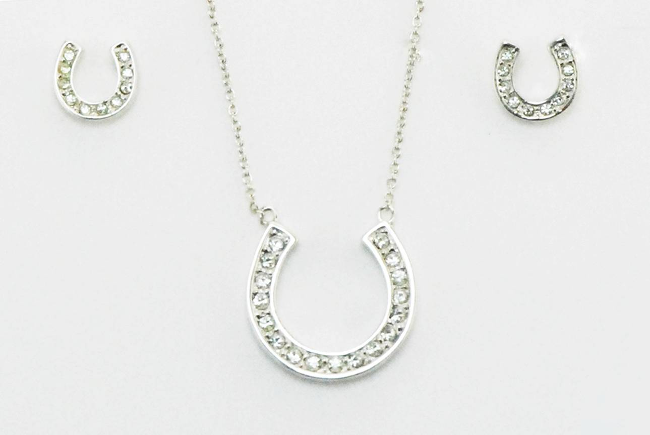 Western Edge Horseshoe With Crystal Stone Earrings And Necklace Set