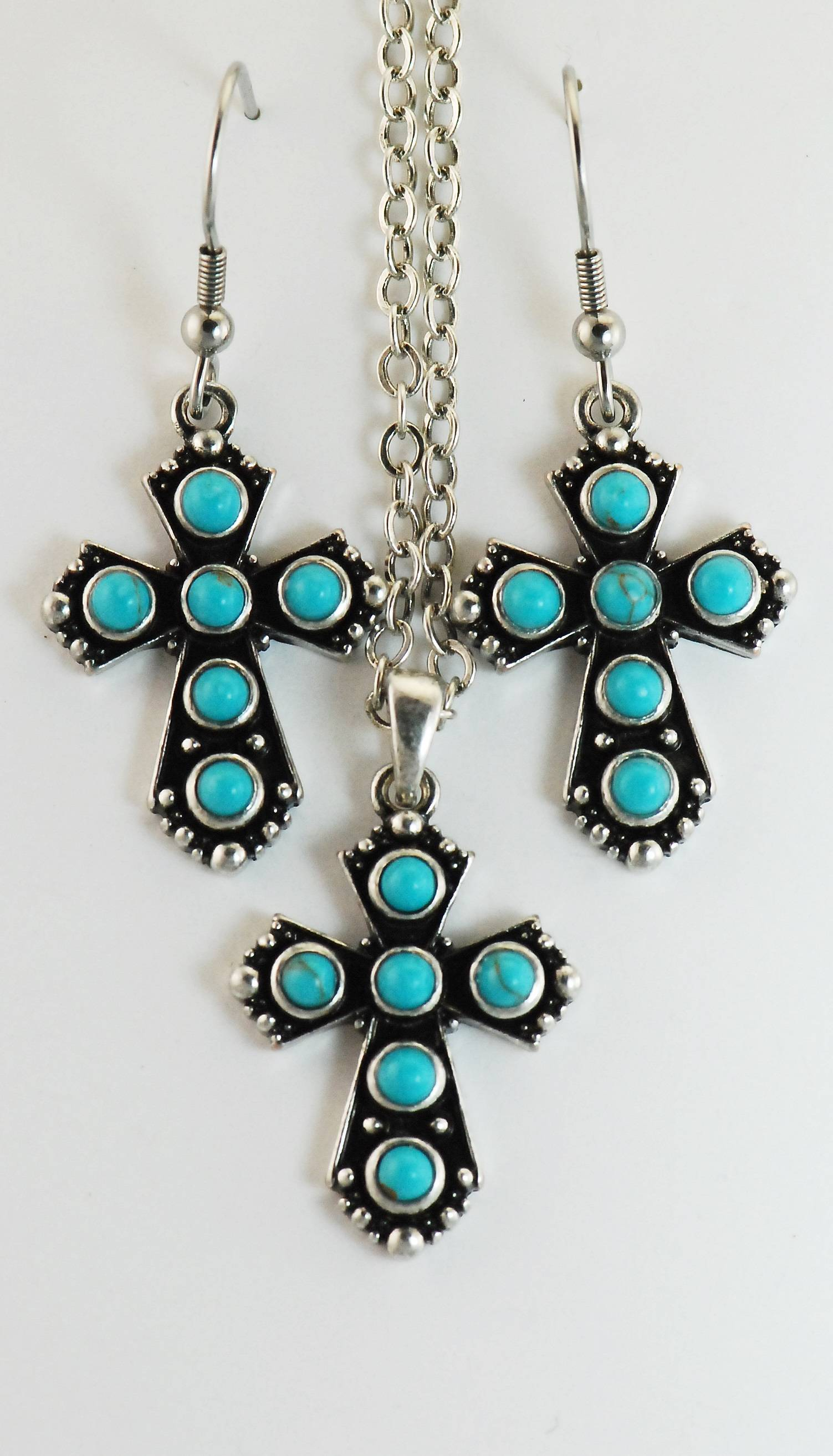 Western Edge Imitation Stone Cross Dangle Earrings Necklace Set
